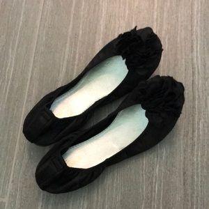 Black Flower Flats